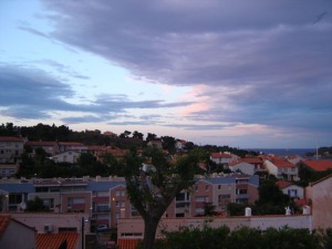 Sunset from the balcony Chez Grau