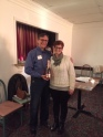 More than 30 members attended the Annual Meeting on Jan. 28. Retiring President George Hrichak gives gifts of appreciation to outgoing secretary Mary Aldrich and outgoing v-p Deborah Marquardt